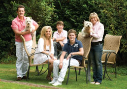 Penny and her family in the garden photo by Headshots UK